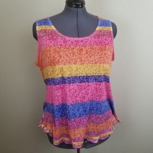 Avenue Colorful Dyed Burn Out Tank Size 22/24